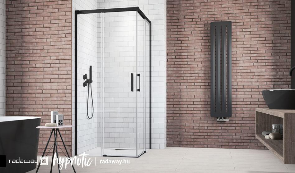 Radaway Idea Black KDD fekete szögletes zuhanykabin