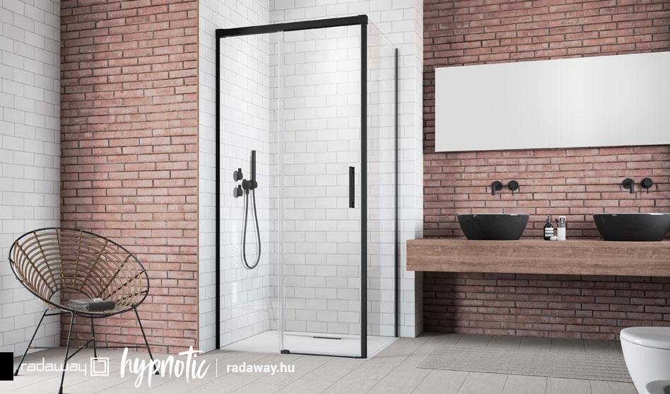 Radaway Idea Black KDJ fekete szögletes zuhanyajtó