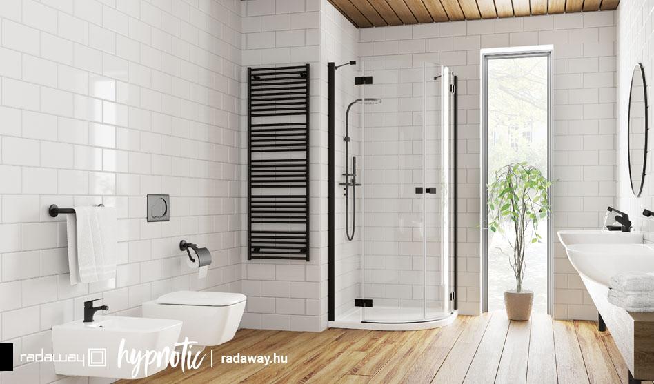 Radaway Essenza New Black PDD íves fekete zuhanykabin