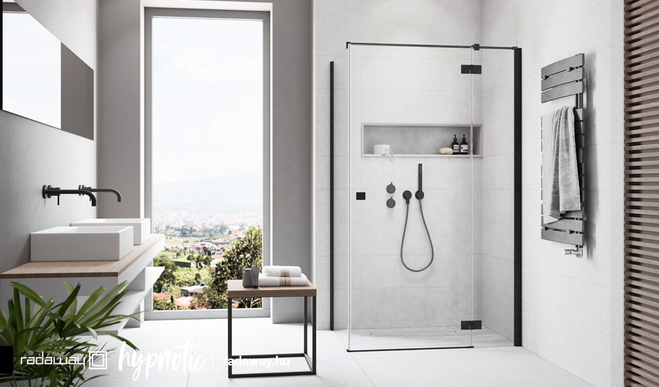 Radaway Essenza New Black KDJ fekete szögletes zuhanykabin
