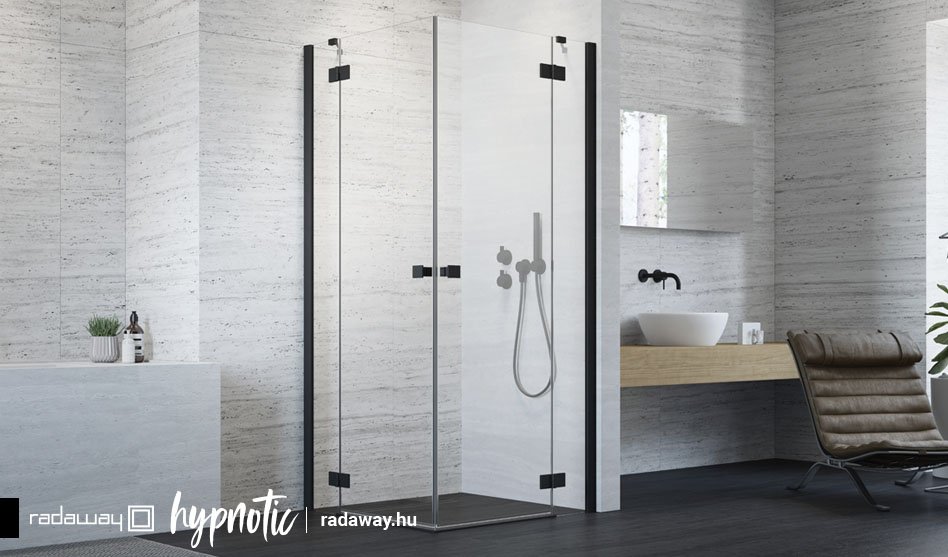 Radaway Essenza New Black KDD fekete szögletes zuhanykabin