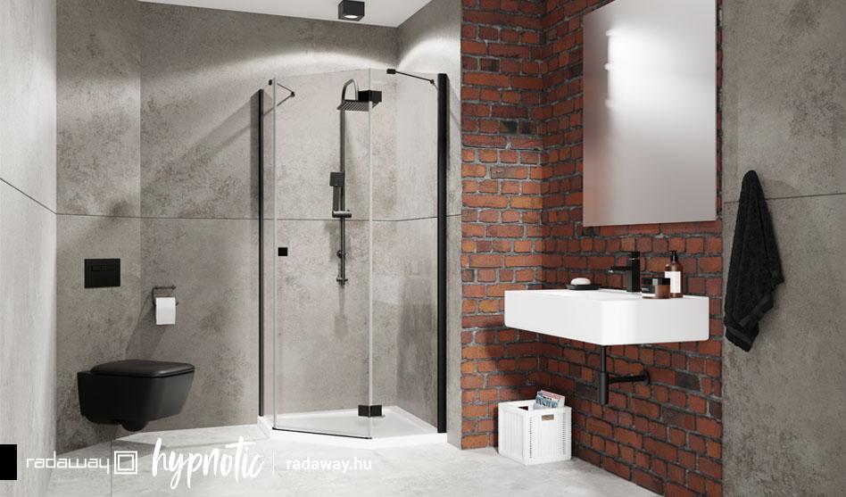 Radaway Essenza New Black PTJ fekete szögletes zuhanykabin
