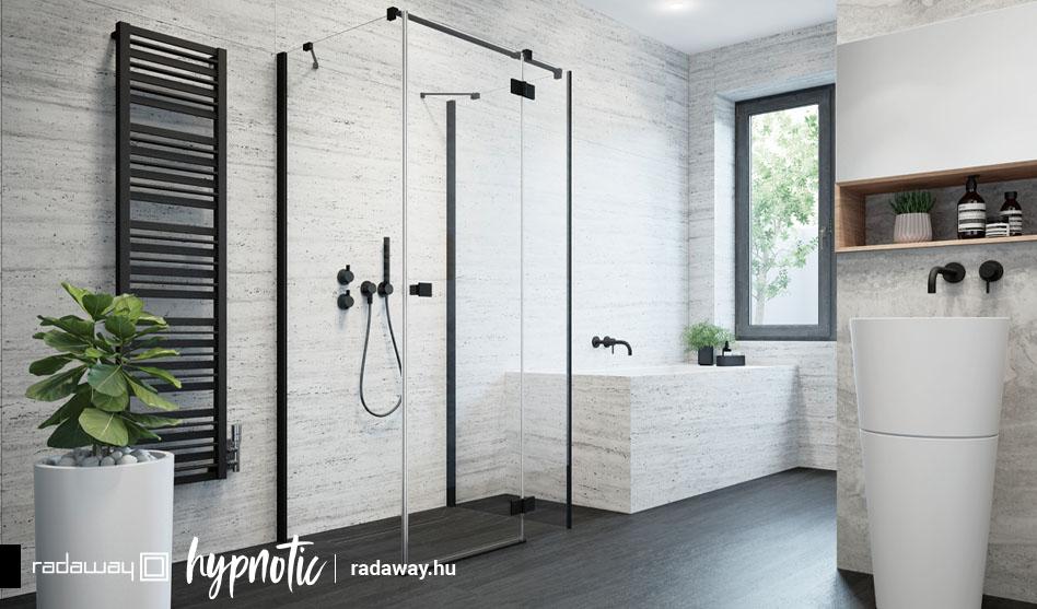 Radaway Essenza New Black KDJ+S fekete szögletes zuhanykabin
