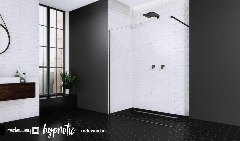 Radaway Modo New Black II fekete zuhanyfal