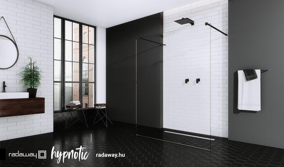 Radaway Modo New Black I fekete zuhanyfal