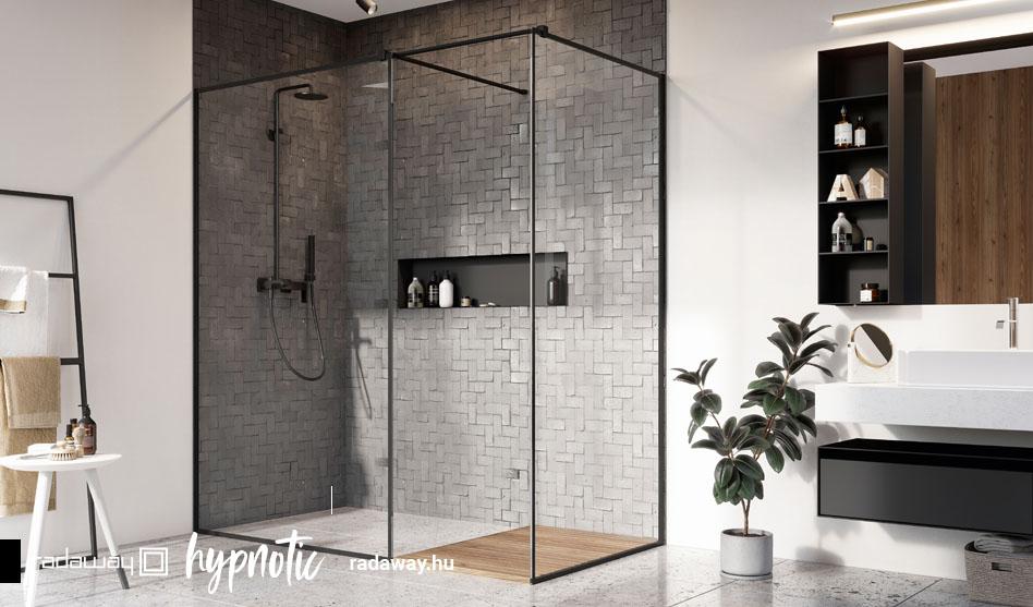 Radaway Modo New Black III Frame fekete zuhanyfal