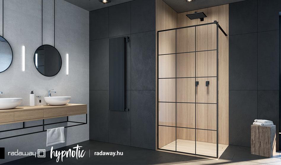 Radaway Modo New Black II Factory fekete zuhanyfal