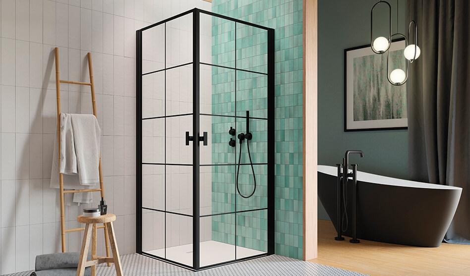 RNES-BLACK-KDD-I-Factory szögletes zuhanykabin