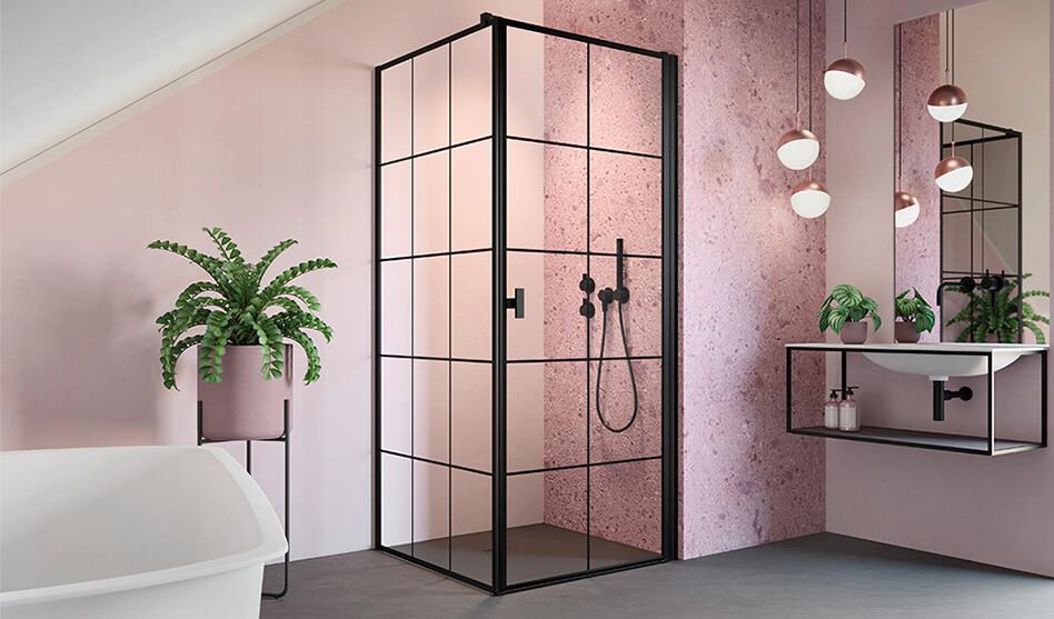NES BLACK KDJ I Factory szögletes zuhanykabin