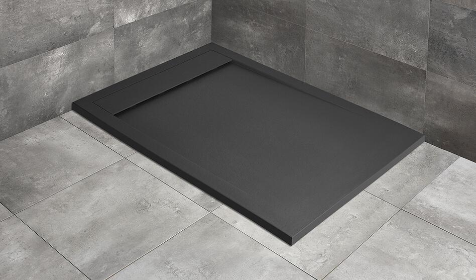 Radaway Teos F szögletes fekete műmárvány zuhanytálca
