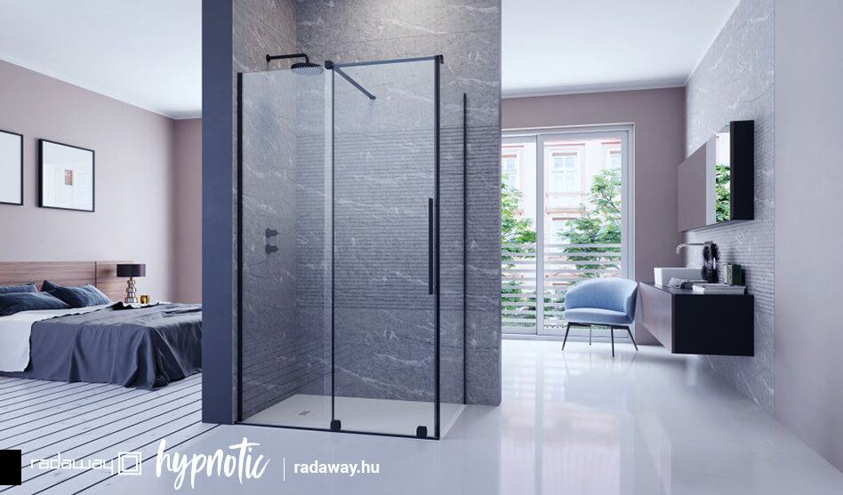 Radaway FURO Black KDJ szögletes fekete zuhanykabin
