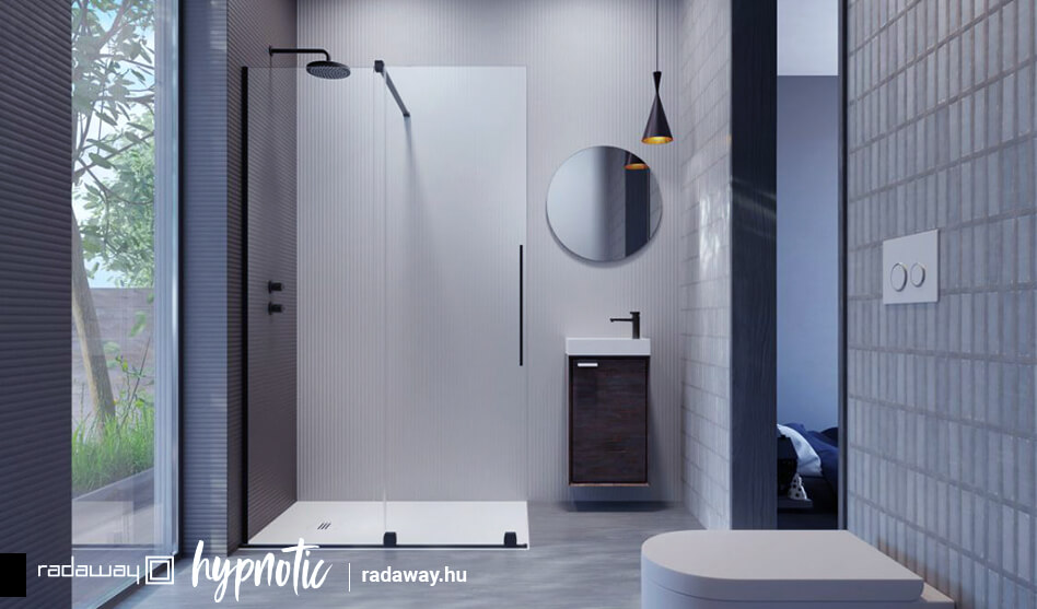 FURO Black Walk-in fekete zuhanyfal