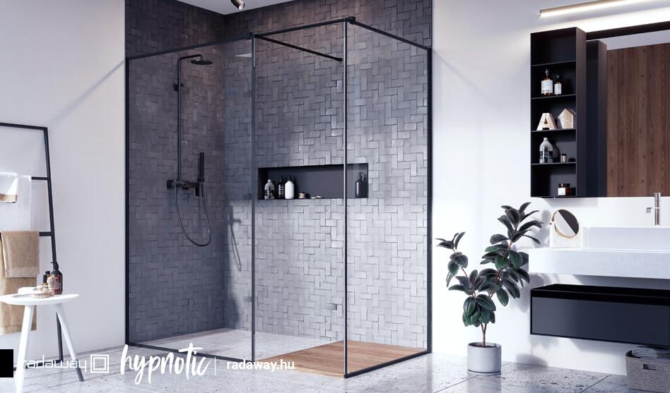 Modo New Black III Frame Walk-in fekete zuhanyfal