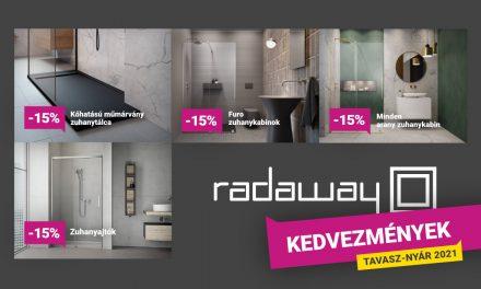 Kiemelt zuhanykabin akció – 15% kedvezmény Radaway termékekre