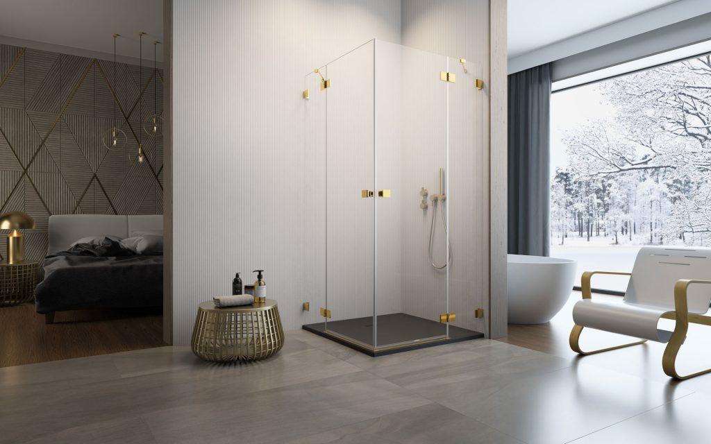 Essenza Pro Gold KDD arany szögletes zuhanykabin