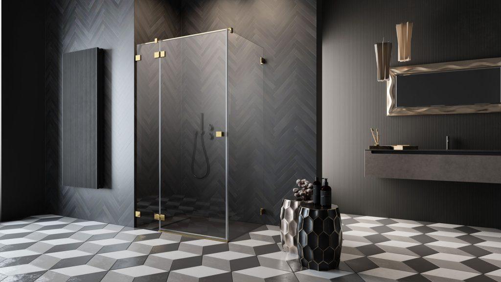 Essenza Pro Gold KDj arany szögletes zuhanykabin