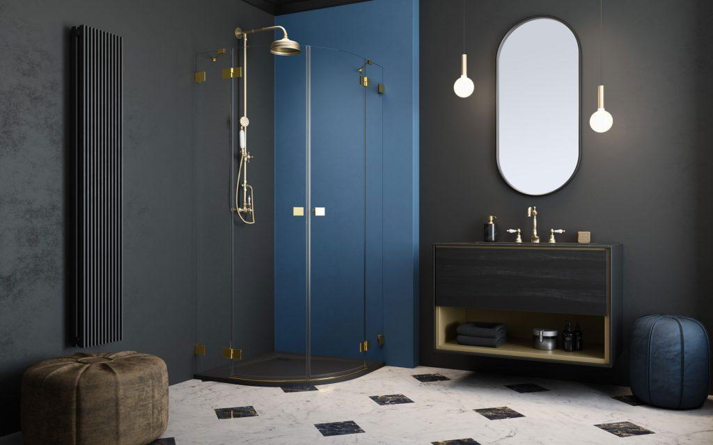 Essenza Pro Gold PDD arany íves zuhanykabin