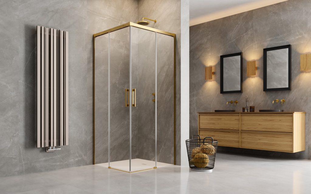 Radaway Idea Gold KDD szögletes arany zuhanykabin