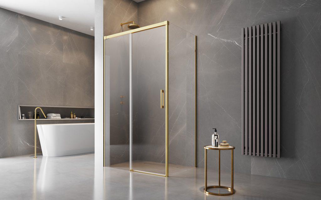 Radaway Idea Gold KDJ szögletes arany zuhanykabin