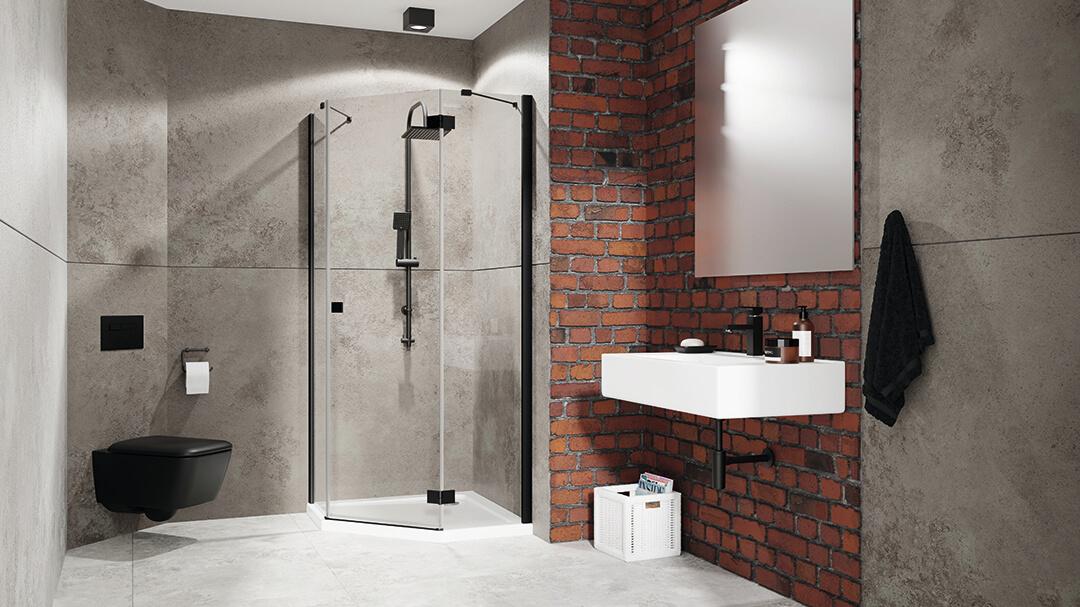 Essenza New Black PTJ szögletes fekete zuhanykabin