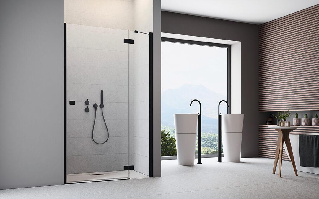 Essenza New Black DWJ fekete zuhanyajtó