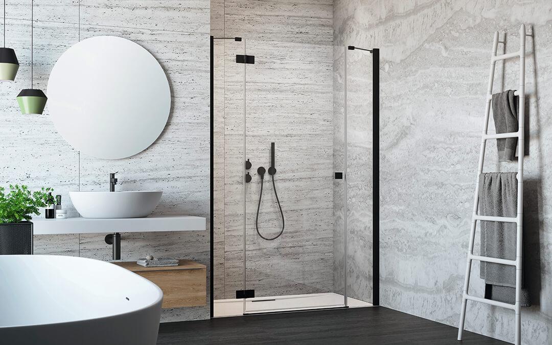 Essenza New Black DWJS fekete zuhanyajtó