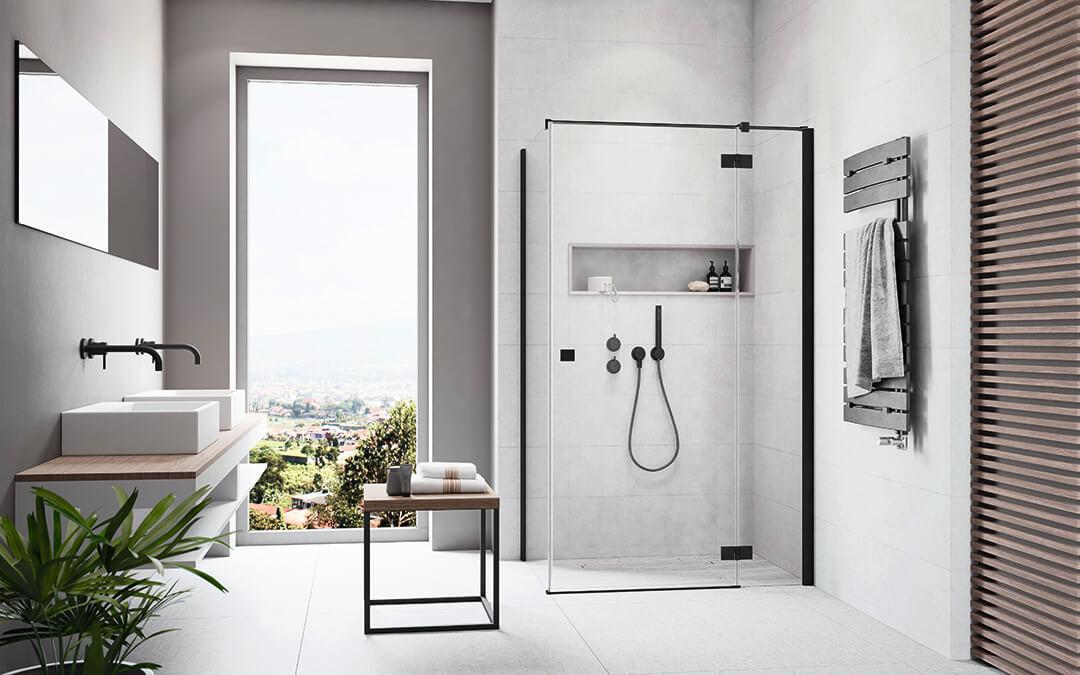 Essenza New Black KDJ szögletes fekete zuhanykabin