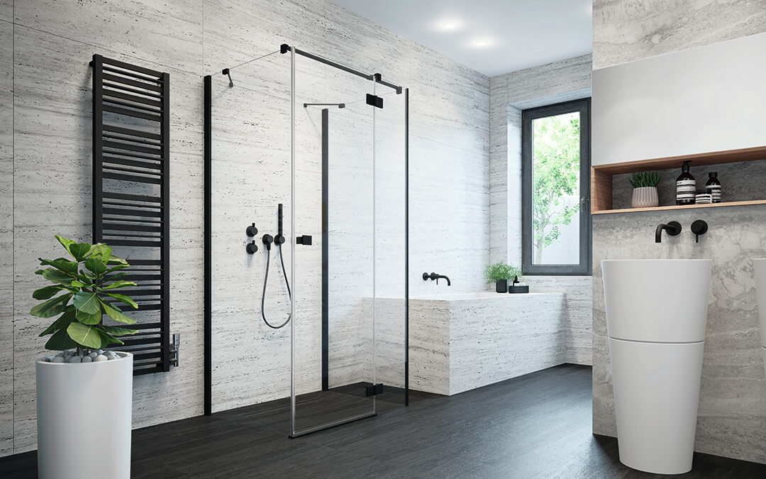 Essenza New Black KDJ+S szögletes fekete zuhanykabin
