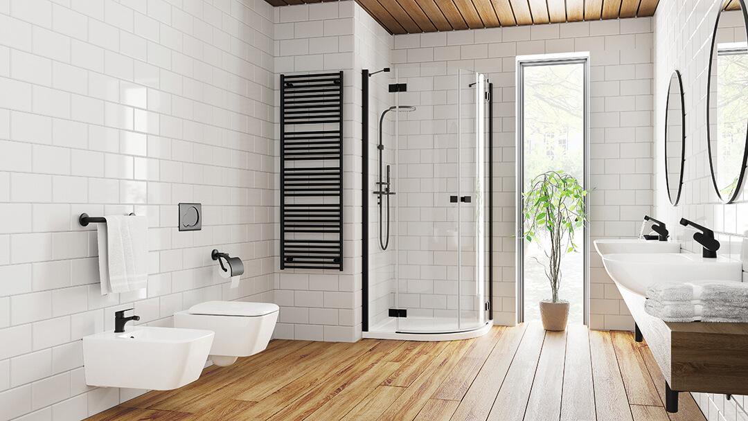 Essenza New Black PDD íves fekete zuhanykabin