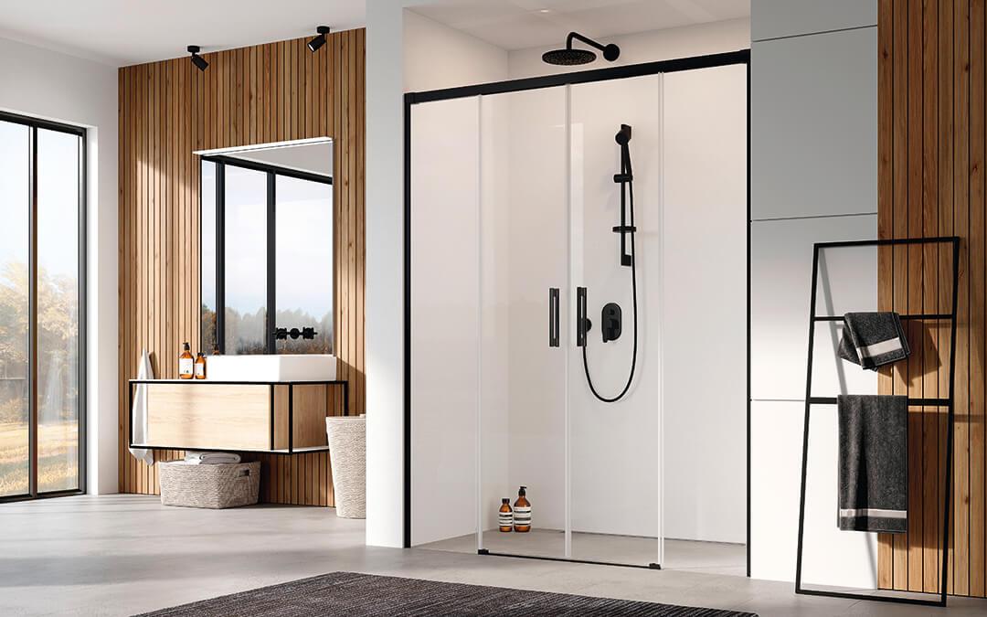 Idea Black DWD fekete zuhanyajtó