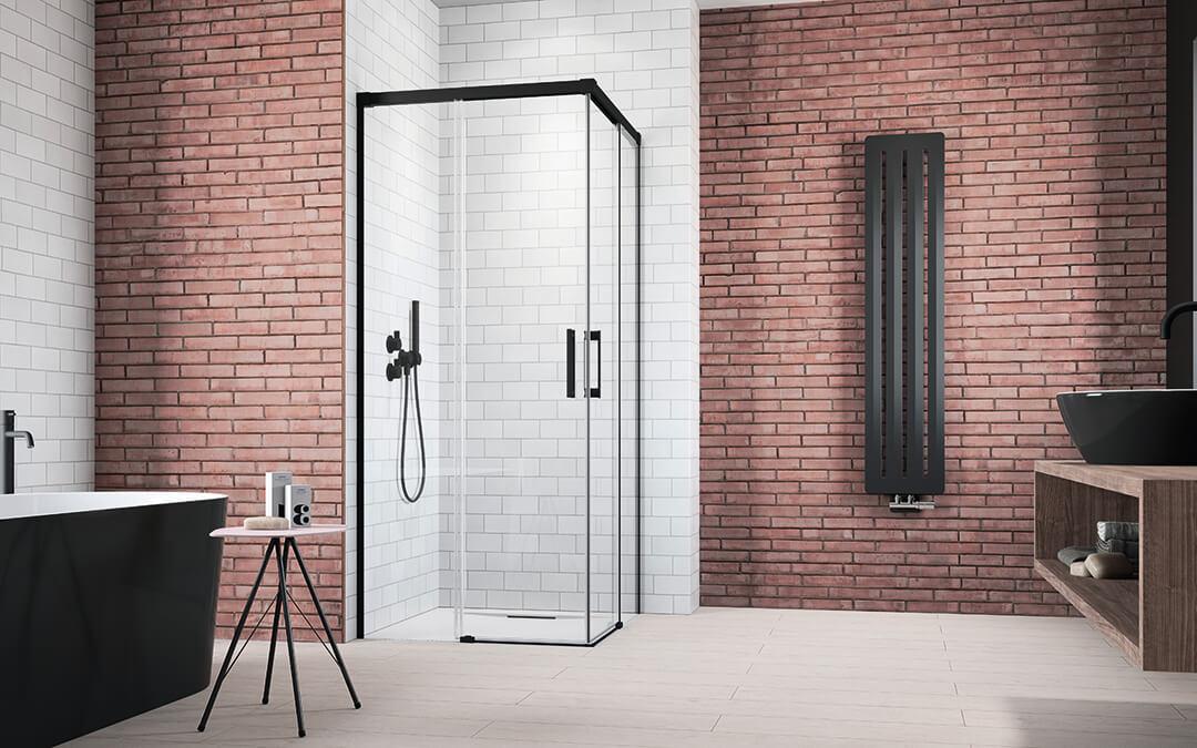 Idea Black KDD szögletes fekete zuhanykabin