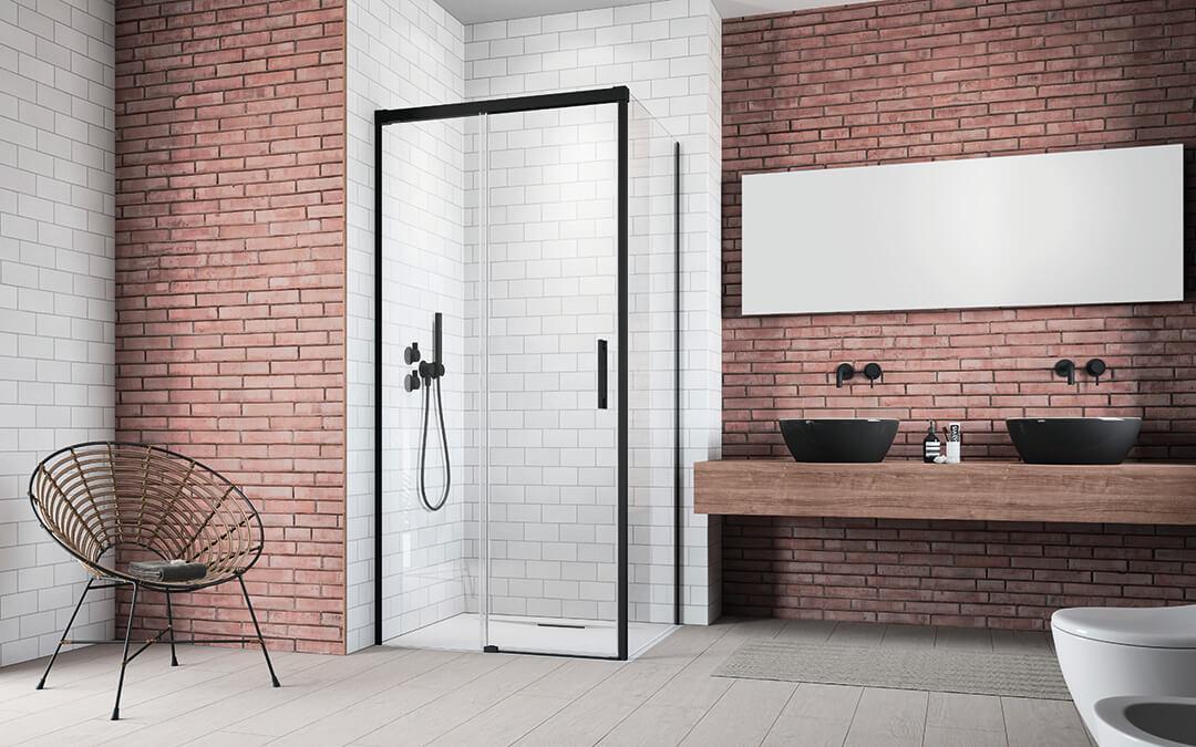Idea Black KDJ szögletes fekete zuhanykabin