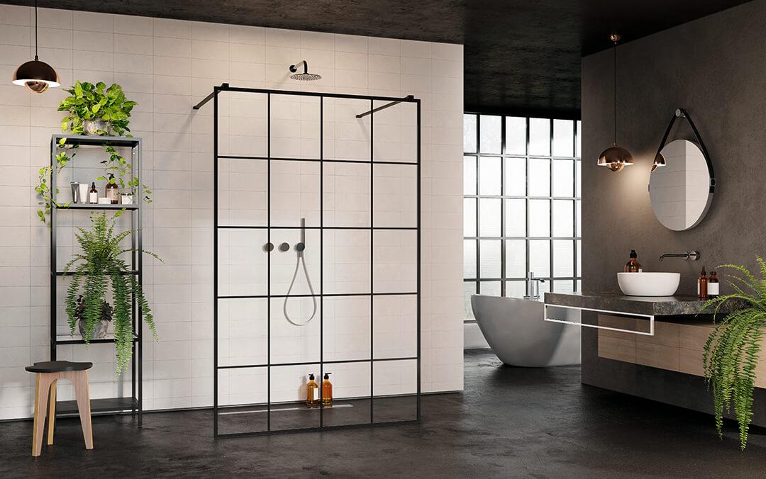 Modo New Black I Factory Walk-in fekete zuhanyfal