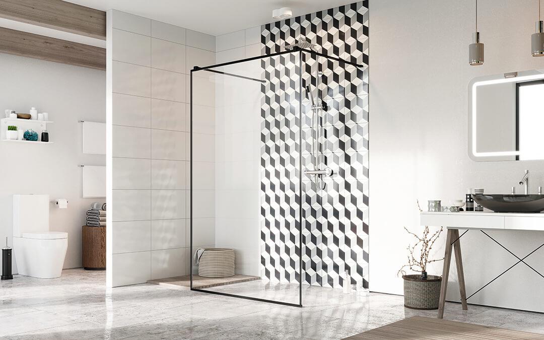 Modo New Black I Frame Walk-in fekete zuhanyfal