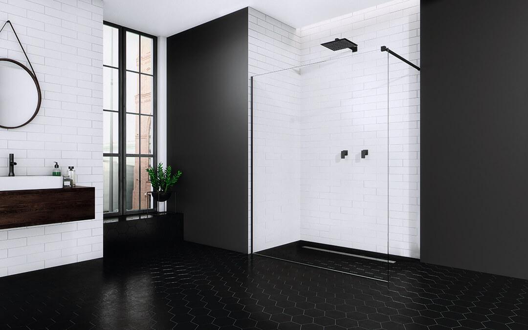 Modo New Black II Walk-in fekete zuhanyfal