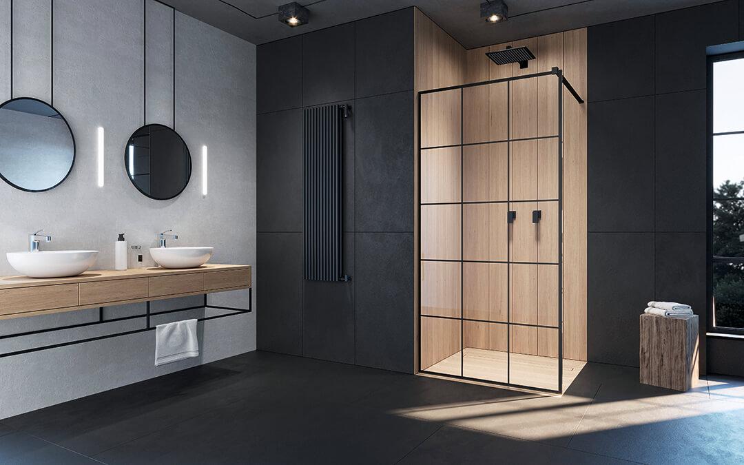 Modo New Black II Factory Walk-in fekete zuhanyfal