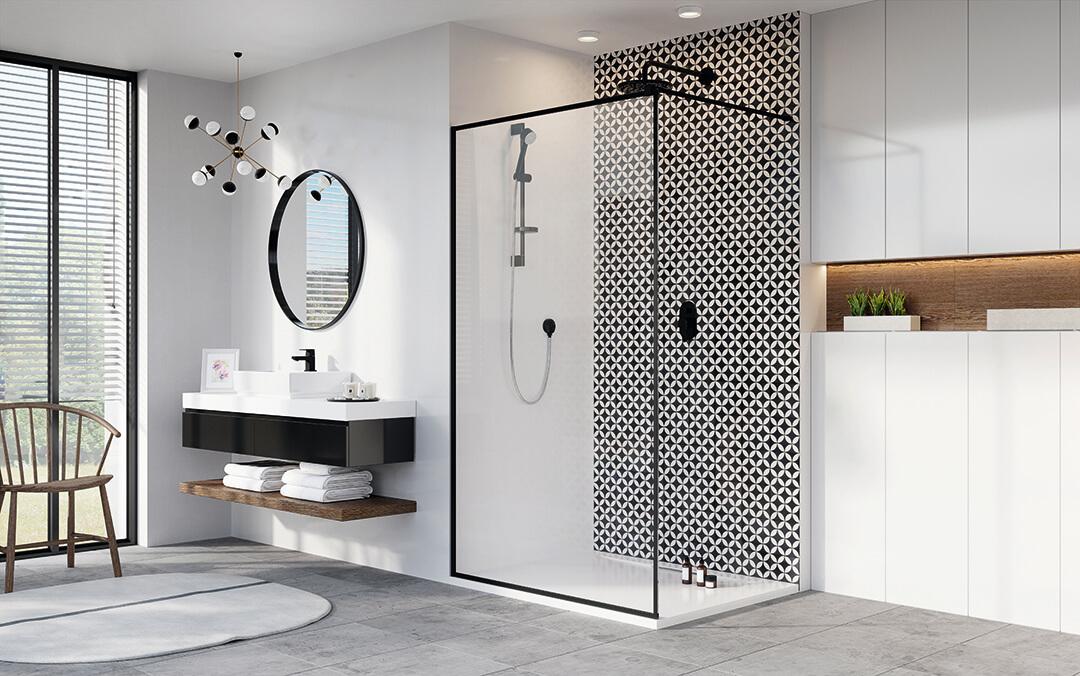 Modo New Black II Frame Walk-in fekete zuhanyfal