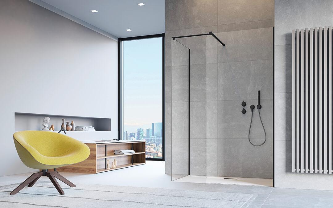 Modo New Black III Walk-in fekete zuhanyfal