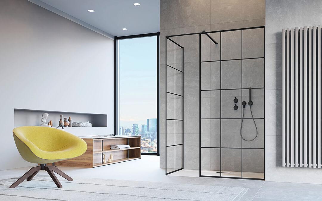 Modo New Black III Factory Walk-in fekete zuhanyfal