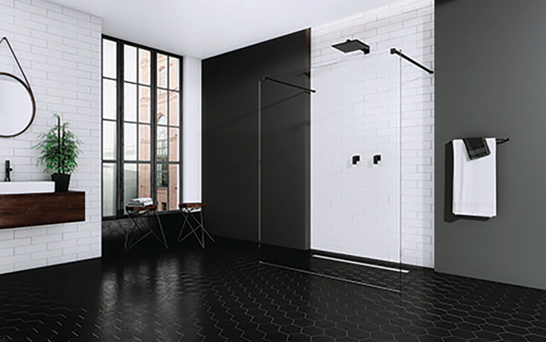 Modo New Black I Walk-in fekete zuhanyfal