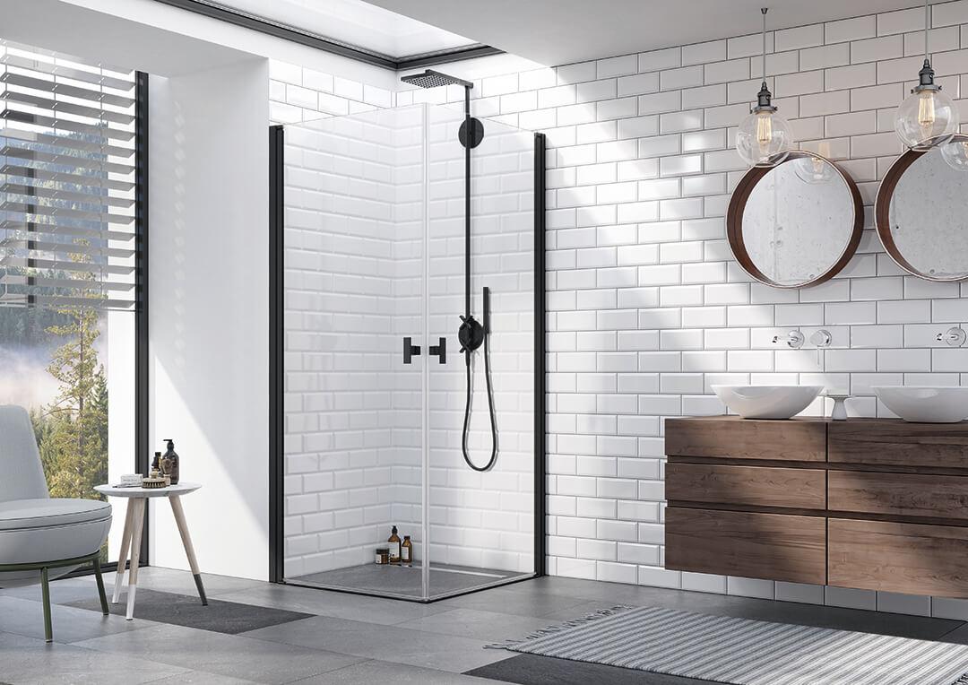 Nes Black KDD I szögletes fekete zuhanykabin