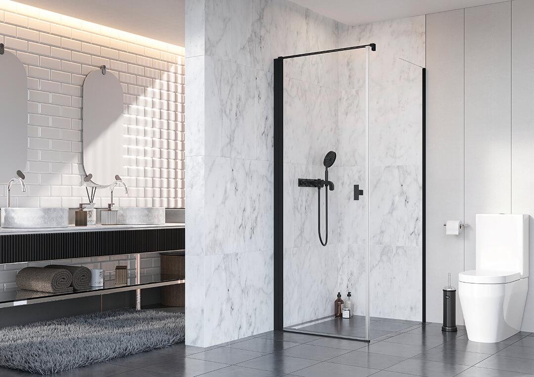 Nes Black KDJ I szögletes fekete zuhanykabin
